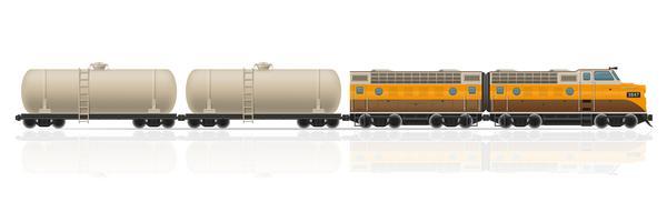 comboio ferroviário com locomotiva e vagões de ilustração vetorial