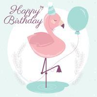 Cartão de feliz aniversário de flamingo de vetor