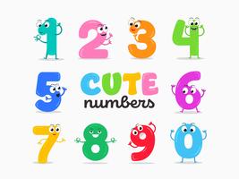 Vetor de números bonitos dos desenhos animados