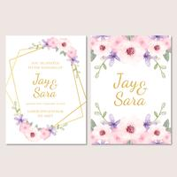Modelo de convite de casamento bonito com flores