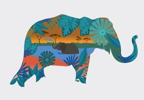 Elefante pintado festival silhueta ilustração vetorial vetor