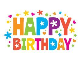 Feliz aniversário colorido texto vetor