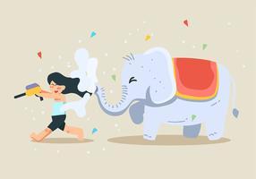 Festival Songkran e Elefante vetor