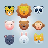 Animais fofos de desenhos animados para cartão de bebê e conjunto de elemento de convite vetor