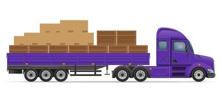 caminhão semi-reboque para transporte de ilustração em vetor conceito mercadorias