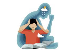 Pessoas de depressão afetam na ilustração em vetor de saúde mental