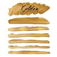 Curso dourado da escova do vetor, mancha da pintura da textura do ouro, ilustração do vetor.