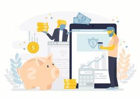 Ilustração em vetor de transações bancárias on-line