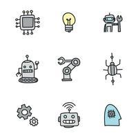 Ícones robóticos rabiscados vetor