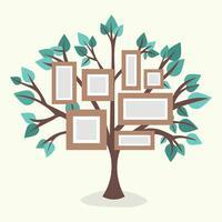 Flat Family Tree Com Molduras vetor