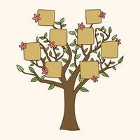 Árvore genealógica Doodled com flores vetor