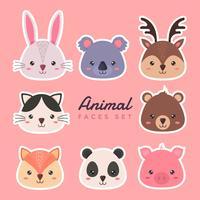 conjunto de rostos de animais vector