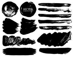 Conjunto de traçados de pincel, pinceladas de tinta preta grunge. Ilustração vetorial