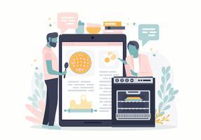 Vector on-line cozimento curso conceito ilustração