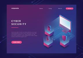 Modelo de Banner da Web de segurança cibernética vetor