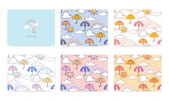 Conjunto de padrão sem emenda com arco-íris fofo e guarda-chuva. Fundo de ilustração vetorial.