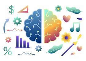 Cérebro esquerdo e direito conceito humano vetor