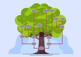 Modelo de árvore genealógica em Bakcground azul vetor