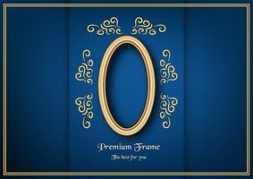 Quadro clássico dourado no fundo azul do inclinação. vetor