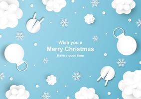 A decoração do Natal no fundo azul no papel cortou e craft com floco da neve. vetor
