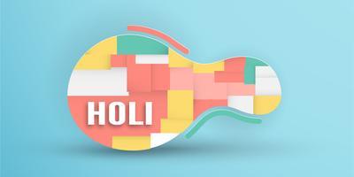 Feliz Holi, Festival das Cores. Modelo de design de elementos para o modelo, banner, cartaz, cartão de felicitações. Ilustração vetorial no corte de papel, artesanato, tipo de origami com estilo plana leigo. vetor