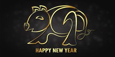 Ilustração vetorial para feliz ano novo 2019. É ano do porco. Molde abstrato com projeto dourado para a cerimónia o fim-de-ano. vetor
