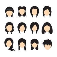 Ilustração do vetor dos penteados para mulheres. Design plano.