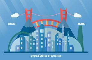 Marcos dos EUA para viajar com a cidade urbana, golden gate e montanha. Vector a ilustração com espaço da cópia e flare da luz no fundo azul.