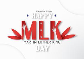 Tailândia, Udonthani - 16 de janeiro de 2019: Feliz dia de Martin Luther King Jr. com corte de papel e estilo ofício. Ilustração vetorial para plano de fundo, banner, cartaz, publicidade, cartão de convite e modelo.