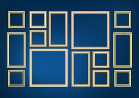 Grupo de imagem decorativa do quadro com beira do ouro, projeto do vetor no fundo azul com espaço da cópia no conceito superior.