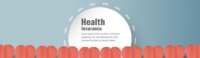 Ilustração vetorial no conceito de seguro de saúde. O projeto do molde está no fundo azul pastel no estilo do corte do papel 3D. vetor