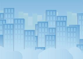 Céu azul com nuvens e prédios urbanos. Projeto da ilustração do vetor no corte e no plano de papel.
