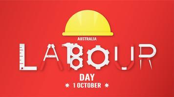 Bandeira de fundo para o dia do trabalho, Austratlia, em 1 de outubro. Ilustração do vetor no ofício cortado e digital do papel.