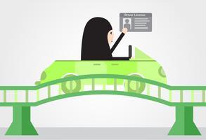A mulher conduz um carro verde em Arábia Saudita na ponte. Adulto árabe recebe uma carteira de motorista. Projeto de ilustração vetorial em estilo simples. vetor