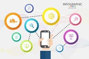 Opções de modelo de negócios de design ou elemento de gráfico infográfico de etapas