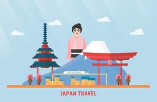 Tailândia, Udonthani - 7 de agosto de 2018: Marcos do Japão com Monte Fuji, Santuário de Itsukushima, trem elétrico, flor de Sakura, pagode e menina japonesa. Ilustração do vetor com céu azul e nuvem.