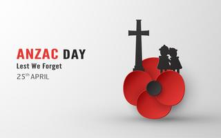 Feliz Dia Anzac em 25 de abril por quem serviu e morreu na guerra da Austrália e Nova Zelândia. Modelo de design de elementos para banner, cartaz, saudação, convite. Ilustração vetorial no corte de papel, estilo ofício. vetor