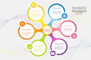 Modelo de negócio de design 6 opções ou etapas infográfico elemento gráfico