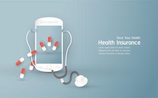 Ilustração vetorial no conceito de seguro de saúde. O projeto do molde está no fundo azul pastel para a tampa, bandeira da Web, cartaz, apresentação de corrediça. Artesanato de arte para criança em estilo de corte de papel 3d. vetor