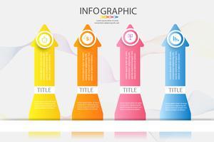Modelo de design de negócios 4 opções ou etapas infográfico elemento gráfico vetor