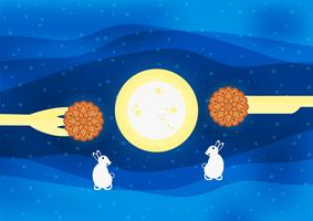 Mid Autumn Festival para o povo chinês em design plano. Ilustração do vetor no fundo azul com lua, coelho, mooncakes.