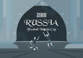 Udonthani, TAILÂNDIA - 17 de abril de 2018: Fundo do campeonato do mundo da FIFA em 2018, RÚSSIA. Desenho vetorial de personagem com o esportista. vetor