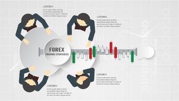 Conceito de estratégia de negociação Forex em papel cortado e ofício para busine vetor