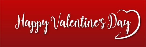 Feliz dia dos namorados férias design de letras. Os Valentim brancos text com fonte da caligrafia do roteiro do coração no fundo vermelho. Vetor de ilustração.