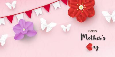 Modelo de design para o dia das mães feliz. Ilustração do vetor no estilo de corte e artesanato de papel. Fundo de decoração com flores para convite, capa, banner, propaganda.