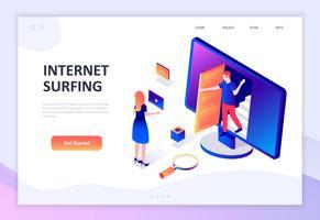 Conceito isométrico moderno design plano de Internet Surf