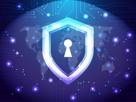 Rede de segurança cibernética. Conceito de segurança e internet. Tema de proteção de proteção de escudo