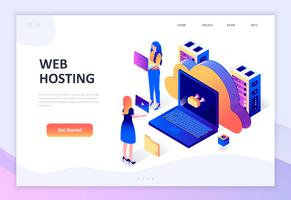 Conceito isométrico moderno design plano de Web Hosting