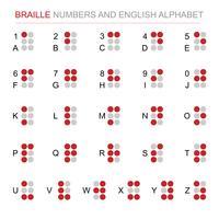 Número do braile e grupo do vetor do alfabeto inglês. Alfabeto para pessoas com deficiência ou cego. Conceito de dia mundial de braille. Louis braille. Fundo branco isolado. Tema de sinal e símbolo
