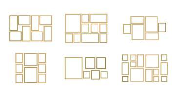 Grupo de imagem decorativa do quadro com beira do ouro, projeto do vetor com espaço da cópia no conceito superior.
